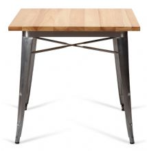 Tolix Style Square Metal Dining Table Steel With Solid Oak Top 1/2 Price Deal
